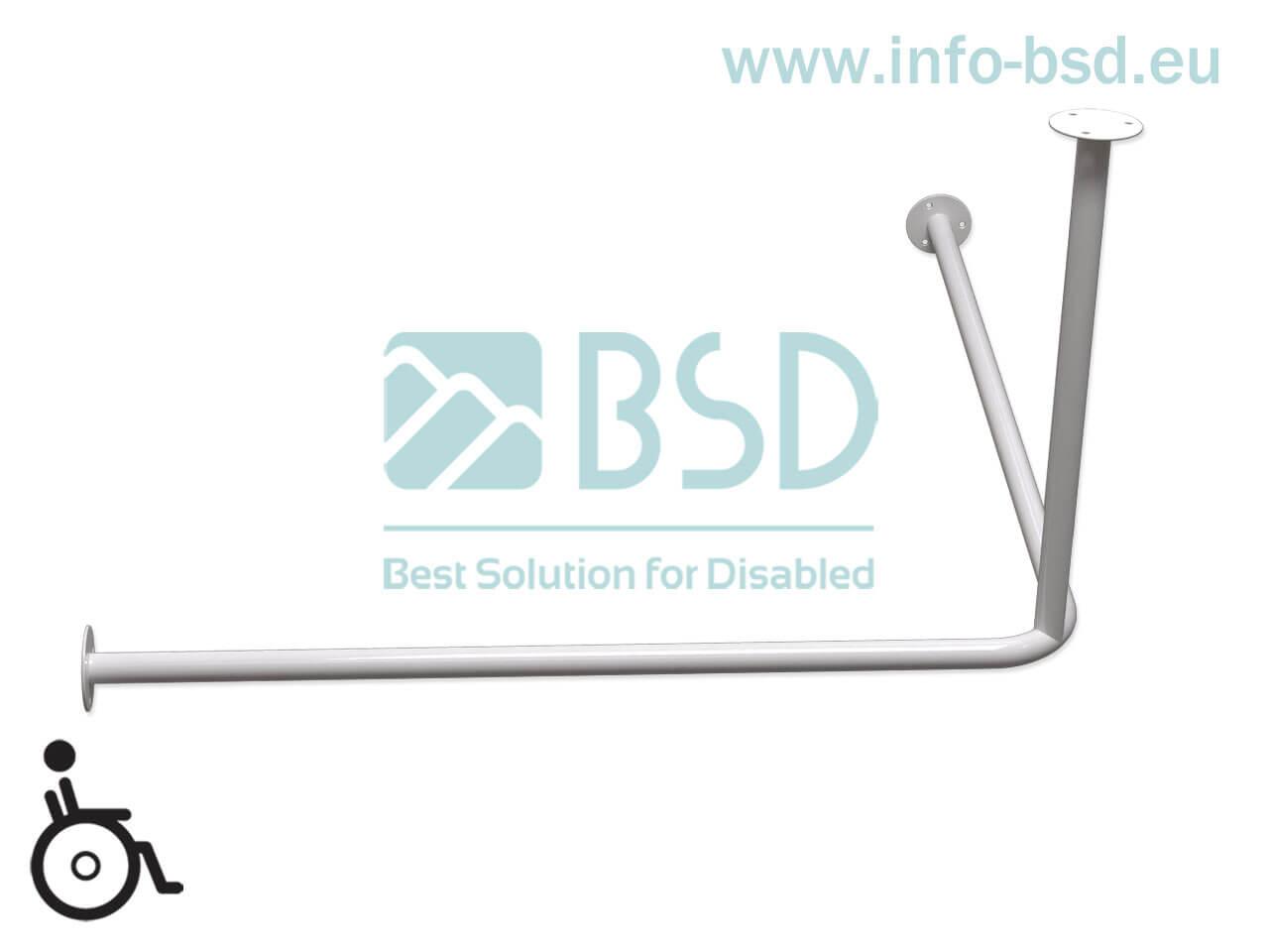 Drążek zasłony prysznicowej dla niepełnosprawnych z podwieszeniem sufitowym biały 80x80cm 90x90cm DR25 BSD