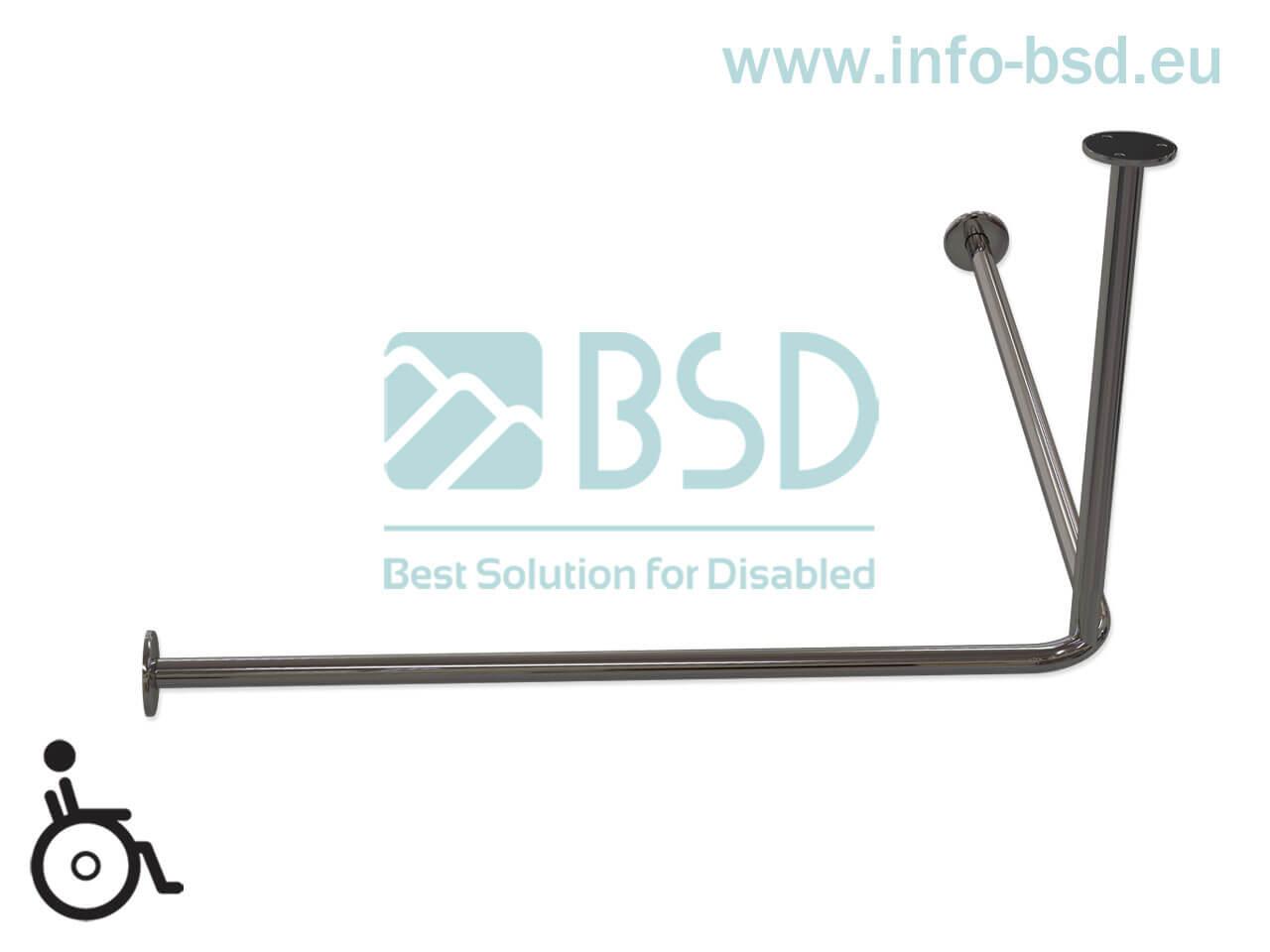 Drążek zasłony prysznicowej dla niepełnosprawnych z podwieszeniem sufitowym stal nierdzewna80x80cm 90x90cm DR25 BSD