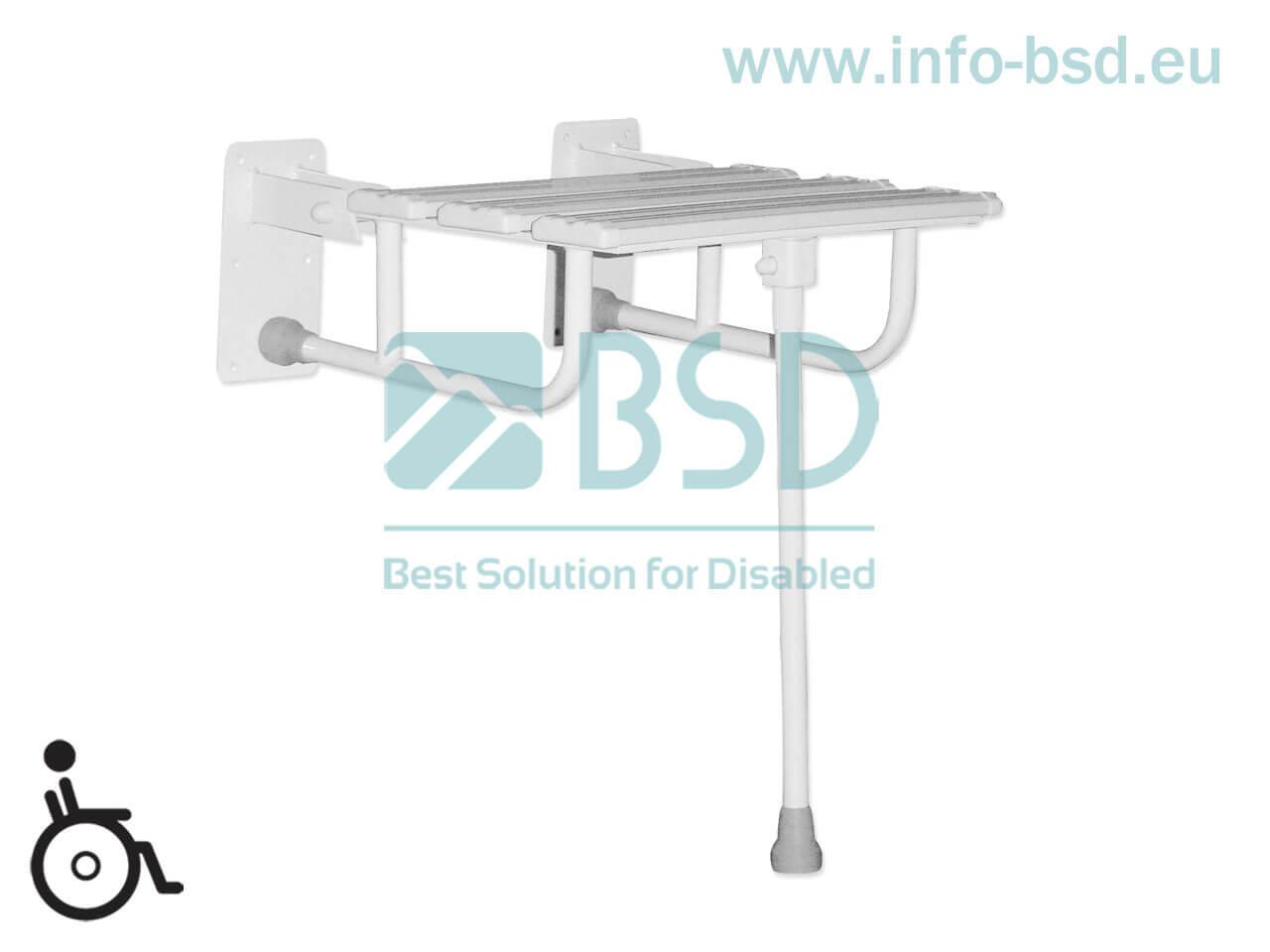 krzesełko prysznicowe dla osób niepełnosprawnych białe wzmocnione z podporą KPU N B25 BSD