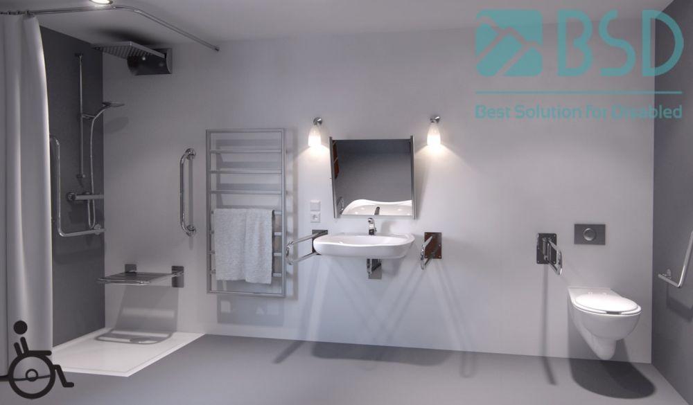 Aranżacja łazienki Bez Barier Bsd Seria Simply Stal