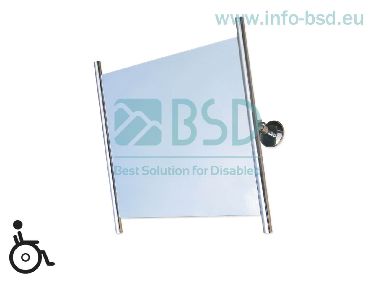 lustro uchylne dla niepełnosprawnych z bocznymiramkami ramie 60x60 cm stal nierdzewna BSD LU1 SN25