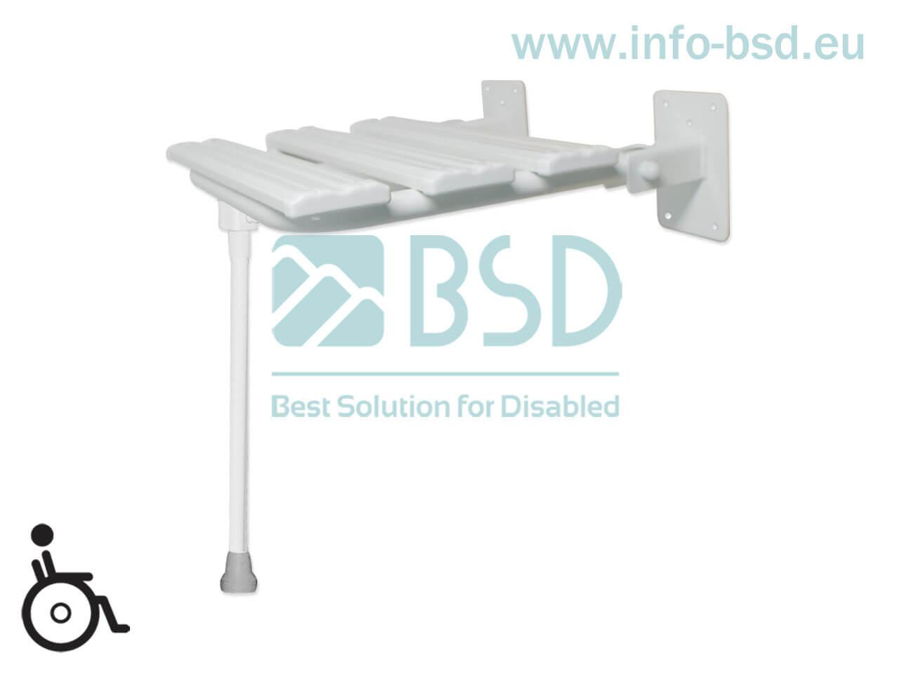krzesełko prysznicowe dla osób niepełnosprawnych białe z podporą KPU-2 N B25 BSD