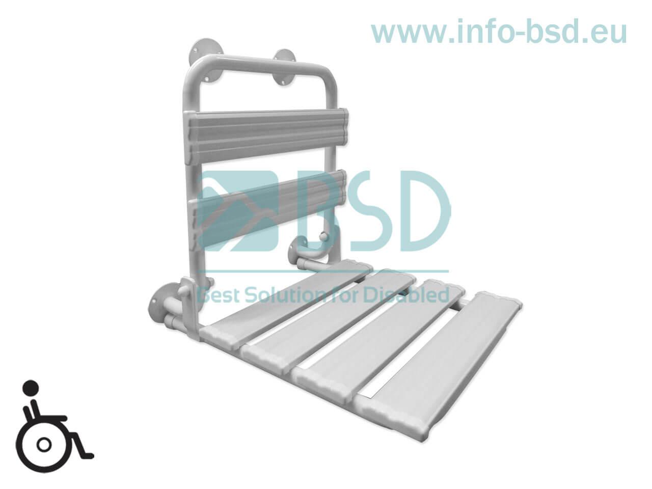 krzesełko prysznicowe składane z oparciem dla osób niepełnosprawnych białe KPU-O B25 BSD