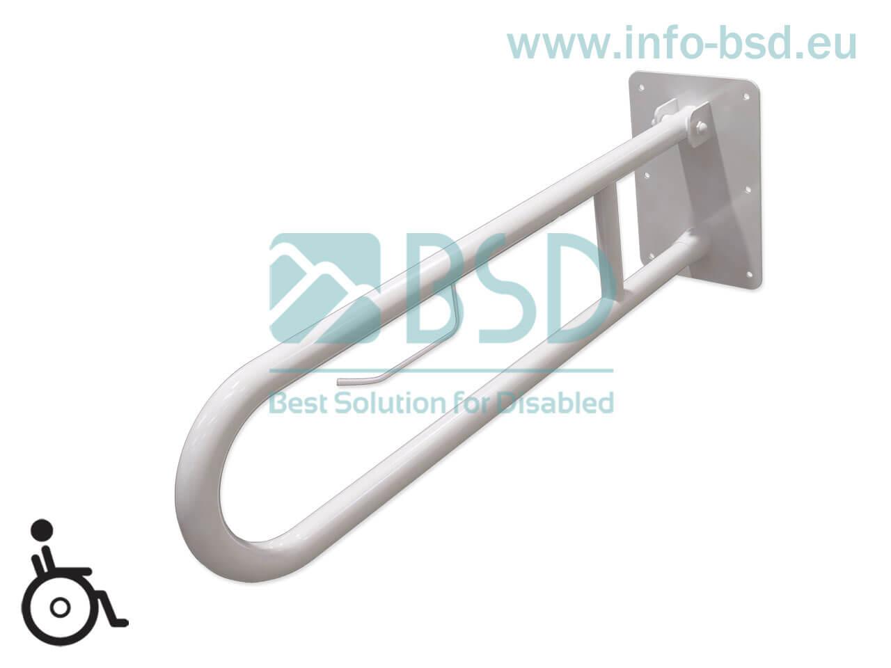 poręcz umywalkowa WC uchylna z zawieszką na papier toaletowy dla niepelnosprawnych seria STANDARD UUWC PAP fi32 BSD