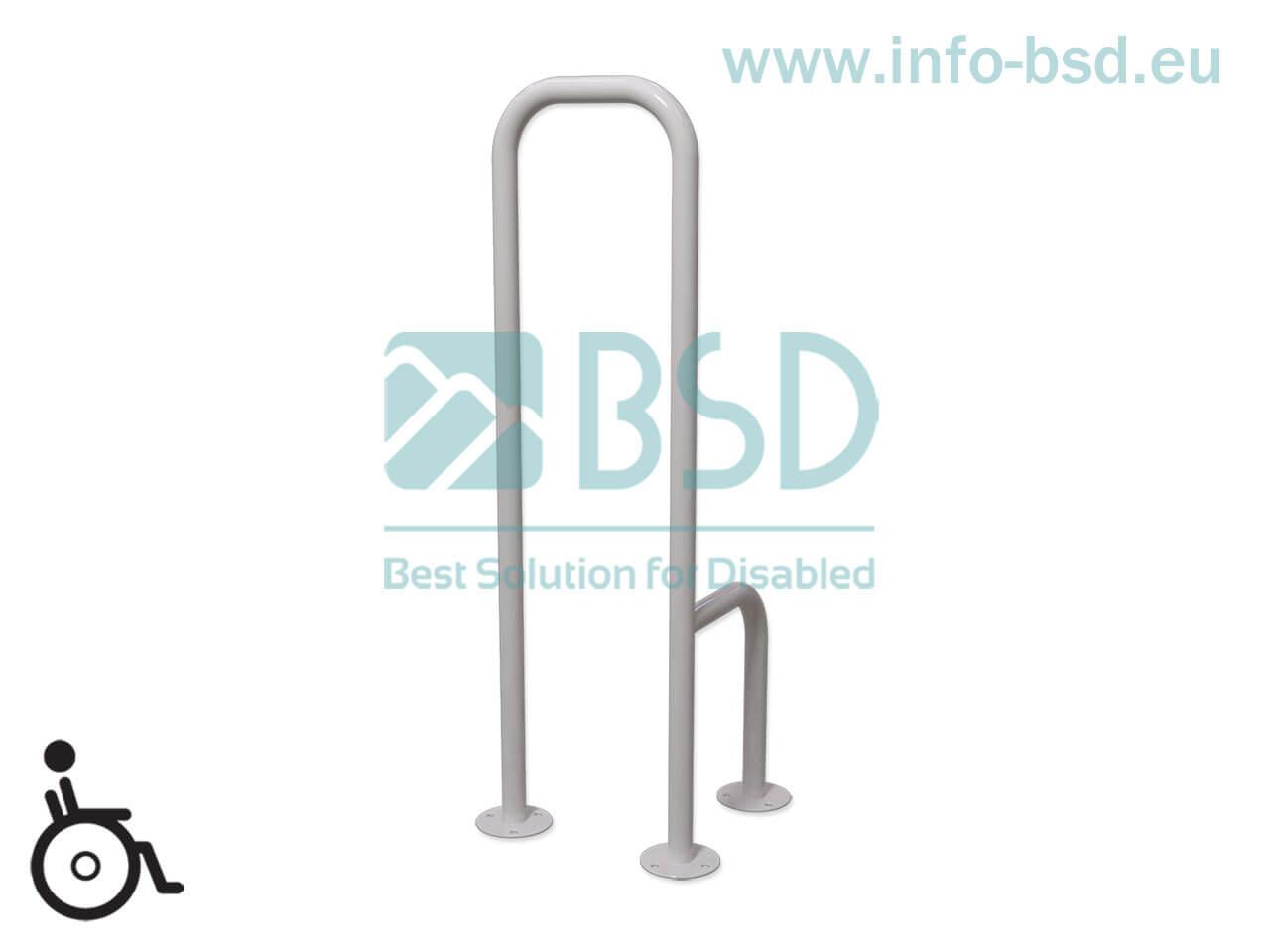 uchwyt dla niepelnosprawnych WC mocowany do podłogi lewy biały seria simply UWCL B25